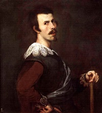 portrait of a man holding staff by josé (jusepe) leonardo de chavier