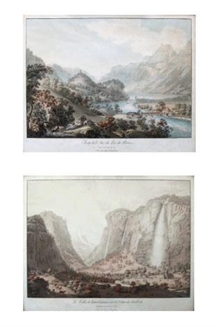 la vallée de lauterbrounnen la chute de staubbach sortie de laar du lac de brienz 2 works by gabriel ludwig lory