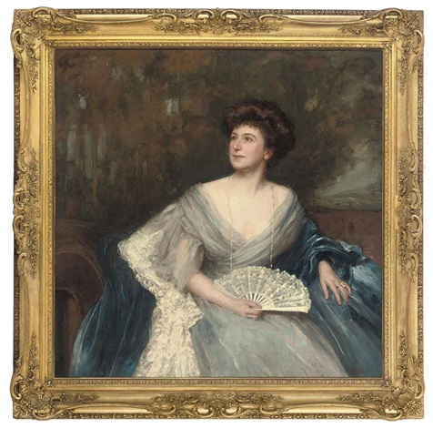 portrait of mrs james herbert wild née sarah alice nesbit rhodes of glossop in a light blue dress and dark blue wrap holding a fan by maud hall rutherford neale