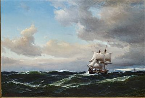 seascape with dark clouds and high sea by daniel hermann anton melbye