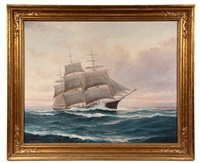 portrait of fully rigged ship at sea, with men in the yardarms by arthur e. bracy