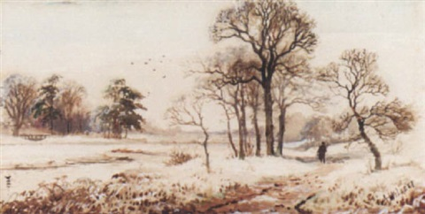 a winter riverbank with a figure on a path by arthur willett