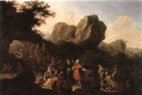 rocky landscape with figures haggling over gilded vessels and porcelain by adriaen verdoel