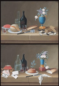 nature morte au jeu de cartes - nature morte aux dominos (2 works) by lelong