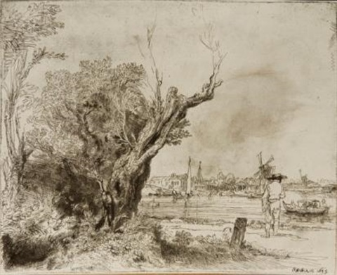 the omval (with lovers in the shadow of a tree) by rembrandt van rijn