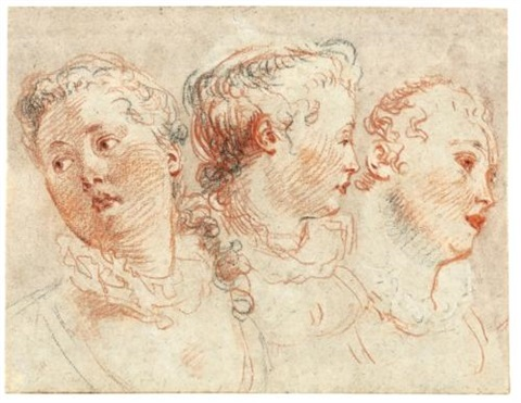 three studies of the head of a woman by jean antoine watteau