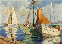 boats in a mediterranean harbour by georges chavignaud