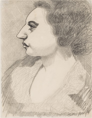 pensive profile by milton avery