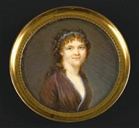 portrait de jeune femme en robe prune brodée de bleu, comme le ruban retenant ses longs cheveux poudrés tombant sur les épaules by étienne charles leguay