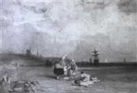 fisherwomen on a beach by thomas brabazon aylmer