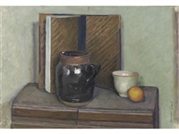 still life with vase, bowl and orange by duncan grant