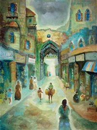 old city scene by albert goldman