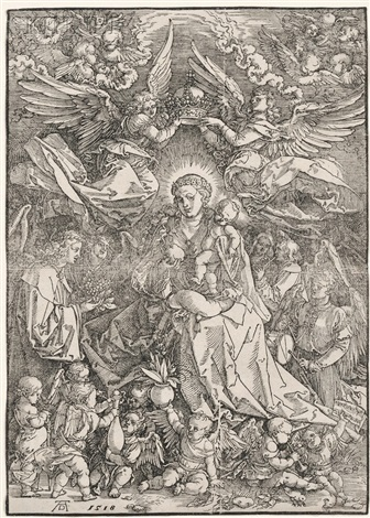 the virgin surrounded by many angels by albrecht dürer