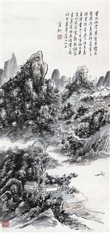 溪山艇棹 镜片 设色纸本 (mountains boats) by huang binhong