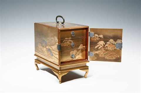 a maki e incense drawer with the design of three most scenic spots in japan by hikobe nishimura