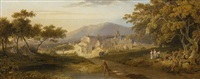 view of a town, with an angler by a stream and figures in the foreground, in a wooded landscape by george arnald