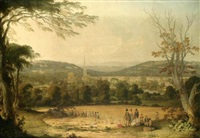 view of masham, wensleydale, figures gathering the harvest in the foreground by j. metcalfe