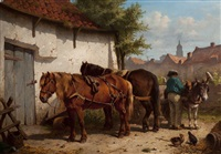 two horses and a donkey being put to a cart by wouter verschuur the younger