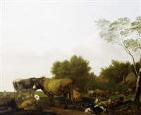 cattle grazing in a meadow, before an open landscape by jacob van der does the elder