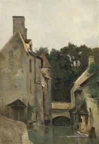 ile-de-france, lavandière au moulin by jean-baptiste-camille corot