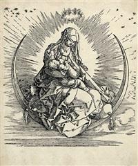 die jungfrau auf der mondsichel. titelholzschnitt aus dem marienleben. b. 76. m. 188, iii, b (von f). by albrecht dürer