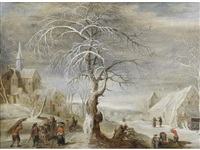 a winter landscape with travellers on a track, a village and woodcutters beyond by frans de momper