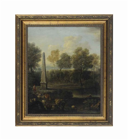 a pastoral landscape with an obelisk shepherds sheep and cows and untitled 2 works by john wootton