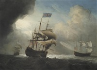 warships shortening sail in a breeze by francis swaine