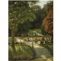 figures on a sunny day at the kurpark, badenweiler, germany by nicolaes van der waay