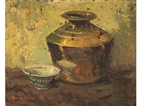 still life with copper pot and porcelain bowl by adriaan hendrik boshoff