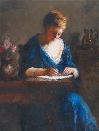 femme attablée écrivant by haralambos potamianos