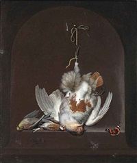 a partridge, a goldfinch, a yellowhammer and a red admiral on a marble ledge in a niche by ottmar elliger the elder