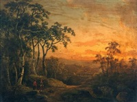 travelers in sunset landscape by abraham pether