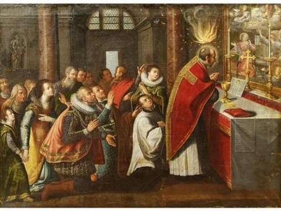 saint louis de gonzague recevant la première communion de saint charles borromée by juan (fray) sanchez y cotan