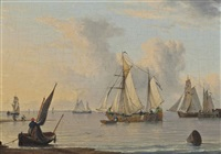 dutch fishing barges and other vessels on the humber in a calm by john ward of hull