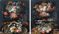 bouquets de fleurs dans des vasques en pierre dans une niche by gaspar pieter verbruggen the younger