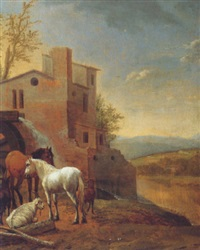 two horses and three goats by a waterspout in an arcadian landscape by gaspar de witte