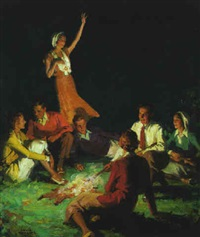young people gathered around the campfire by frank s. bensing