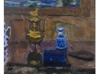 still life in gold and blue by william george gillies