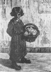 jeune fille portant un panier de lettres devant le cinéma by marcel rendu