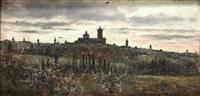 vista de un paisaje con ciudad al fondo y almendros en flor by manuel ramos artal