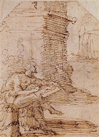 zeuxis sketching the portrait of helen among ruins by domenico beccafumi