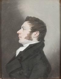 portrait d'homme de profil à la veste noire by thomas simpson