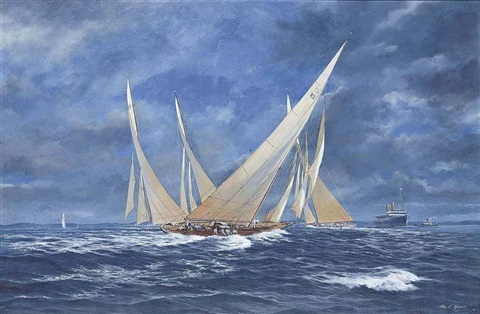 astra velsheda and other j class yachts racing off the isle of wight by john j holmes