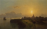 evening mood over town by karl adloff