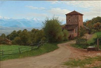 southern landscape, presumably in italy by ludvig kabell