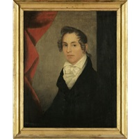 portrait of charles d'emery with red curtain by ammi phillips