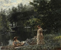 deux femmes au bord de l'étang by henry john yeend king