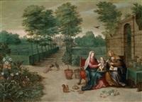die heilige anna selbdritt in einer ausgedehnten park- und gartenlandschaft by jan brueghel the younger