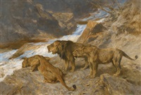 lions by a stream by arthur wardle